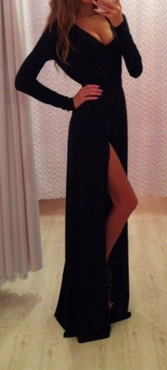 dress formal dress long dress black dress long sleeves slit dress sexy v-neck dress