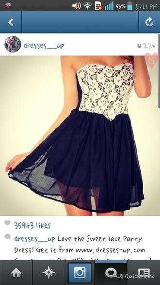 dress short dress lace top dress navy blue dress