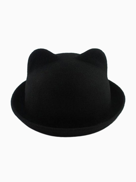 Black Roll Brim Felt Boater with Cat Ear | Choies