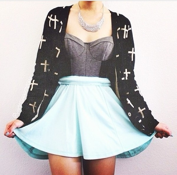 skirt turquoise blue jacket sweater cute girly spring shirt summer cross grey cardigan black and white black white underwear top dress