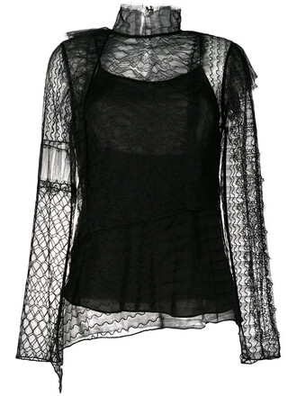 top embroidered women lace black silk
