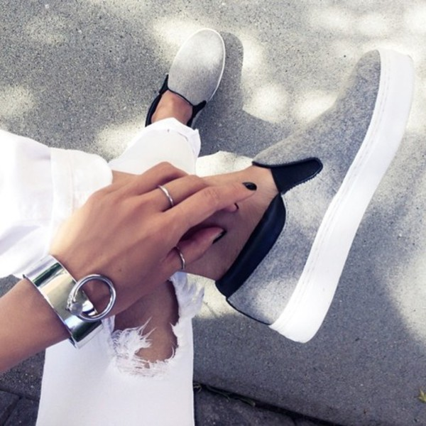 shoes heels sneakers grey flats