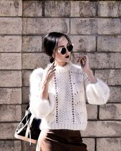 sweater,tumblr,white sweater,cozy,cozy sweater,fuzzy sweater,sunglasses,cat eye,skirt,brown skirt,bag,louis vuitton,louis vuitton bag