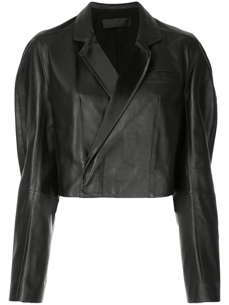 jacket cropped jacket cropped women leather cotton black wool