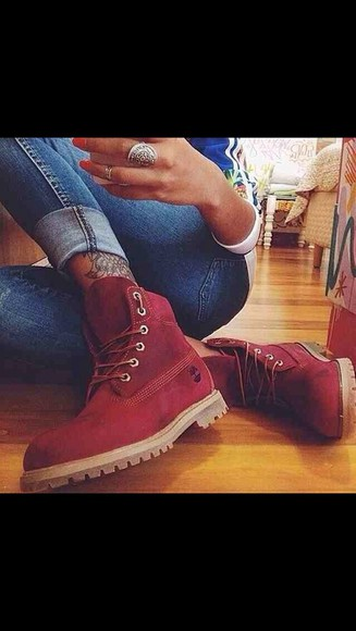 shoes timberlands boots red boot
