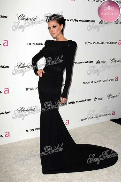 Aliexpress.com : Buy Victoria Beckham bateau neck sequins on the shoulder  black formal dress long sleeves celebrity dresses from Reliable celebrity dress sizes suppliers on sexyfashionbridal
