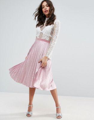 ASOS Pleated Midi Skirt in Velvet at asos.com