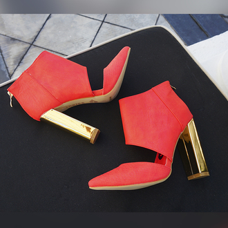 shoes red kiss red shoes pointed toe cut-out cut-out heel booties ankle boots bad girls club bad girl red leather coral gold heel high heels chunky heels zooshoo