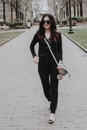 the material girl,blogger,jumpsuit,shoes,sunglasses,bag