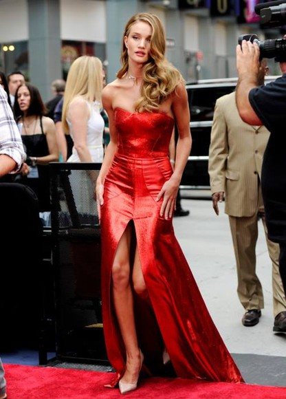 dress rosie huntington-whitley red dress
