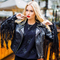 Lady's fashionable high quality eco-leather fringe zipper jacket