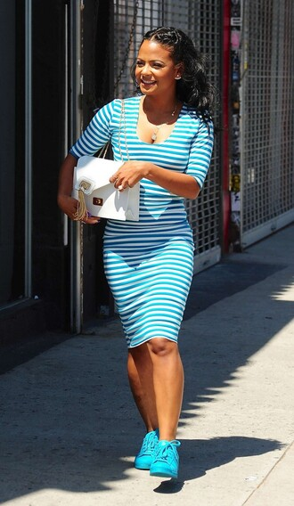 dress stripes midi dress bodycon blue christina milian summer dress striped dress shoes turquoise