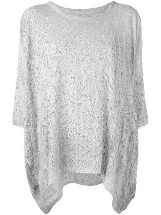 t-shirt shirt loose tie dye print grey top