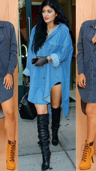 dress kylie jenner kardashians denim top heels boots denim dress denim top denim shirt oversized shirt black boots oversized shirt dress shoes oversized shirt