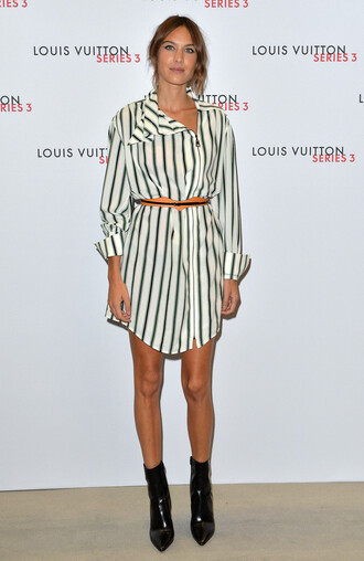 dress stripes tunic dress alexa chung fashion week shirt shirt dress