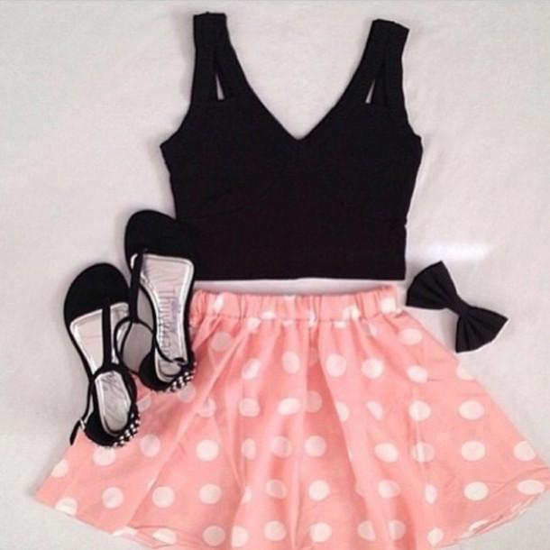 shirt skirt polka dot skirt polka dots
