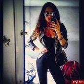 jacket,leather jacket,black,studs,sunglasses