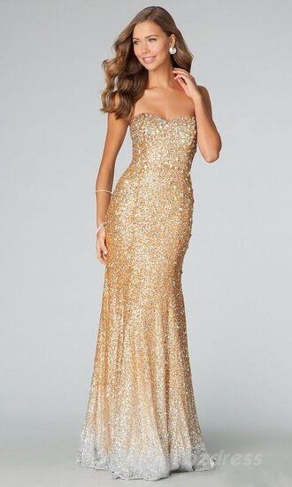 dress gold dress prom dress long dress sparkly dress glittery