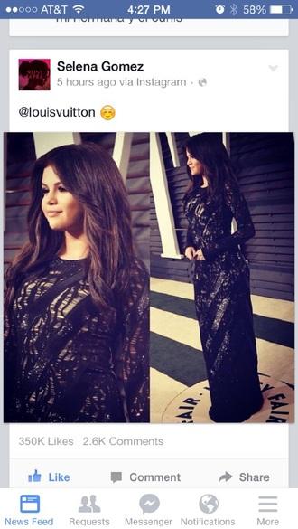 dress long dress black dress selena gomez louis vuitton