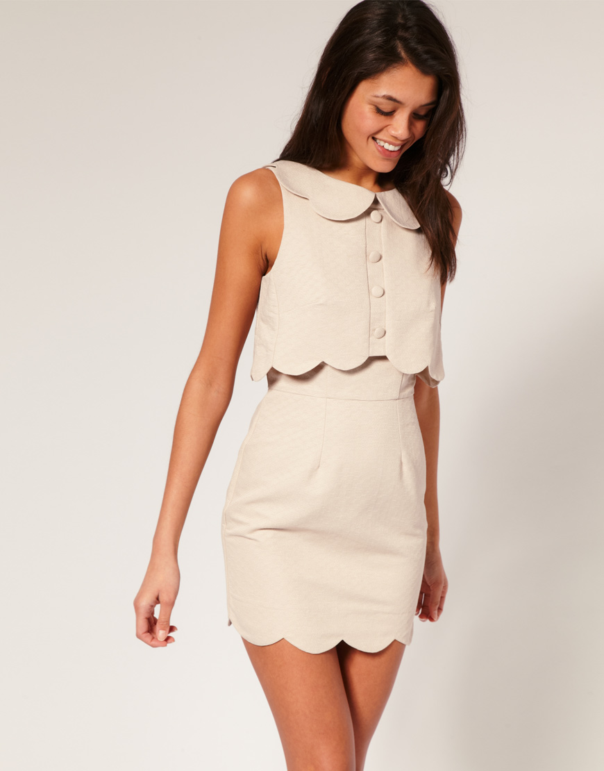 Asos pique chelsea scalloped shift dress at asos.com