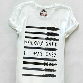 t-shirt yeah bunny girly mascara tumblr nobody said it was easy
