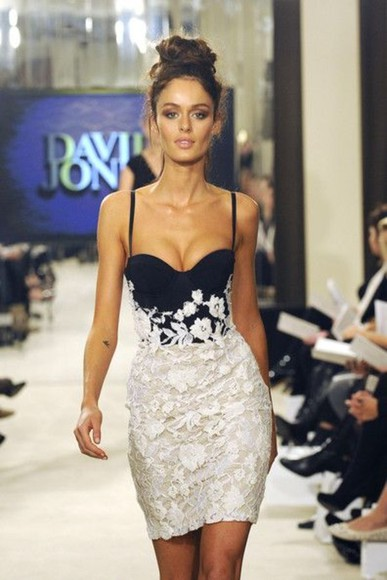 runway dress flowers flower accent white white and blue dress black and white dress