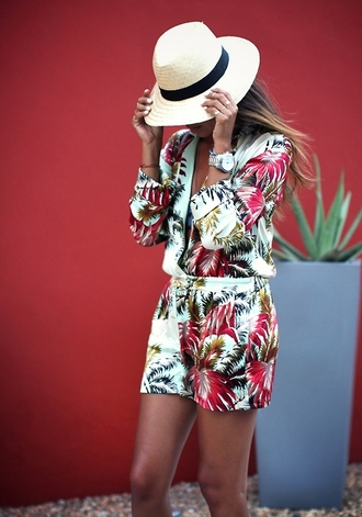 shorts summer outfits floral dress dress white romper tropical green flowered shorts sexy blouse lime shirt floral beach palm tree print summer colorful flowers combishort