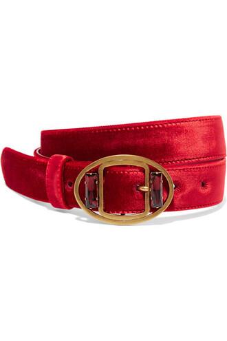 embellished belt waist belt velvet red