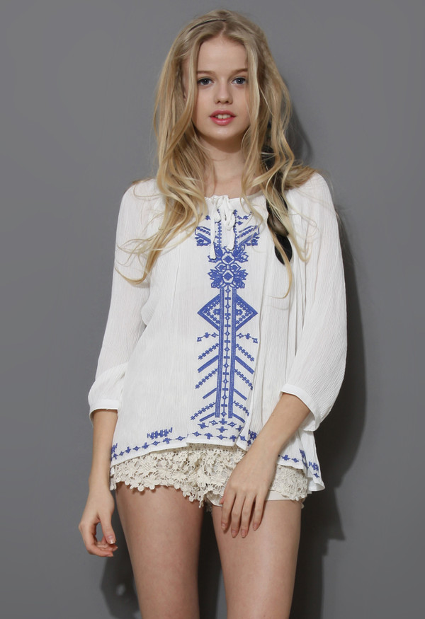 shirt boho blue stitch embroidered top embroidered shirt