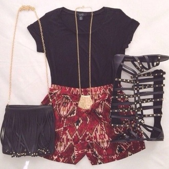 shorts blouse bag red red shorts jewels gold black black crop top black top black purse fringe cute bag cute purse purse bags and purses shirt top shoes sandals knee high gladiator sandals