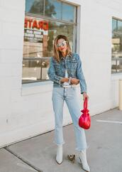 hello fashion,blogger,jeans,jacket,shoes,make-up,sunglasses,bag,denim jacket,ankle boots,fall outfits,white boots,red bag
