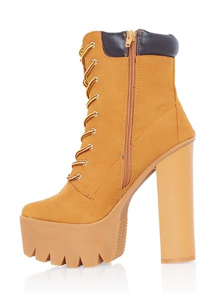 rehab construction lace up platform chunky heel boot in camel