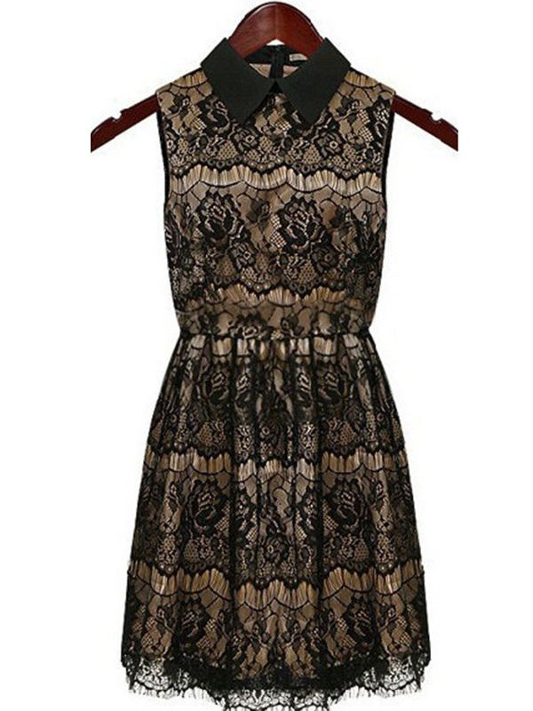 Sleeveless notch lapel vintage eyelash lace dress : kisschic.com