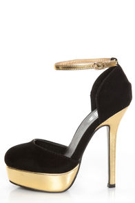 Gold And Black Platform Heels