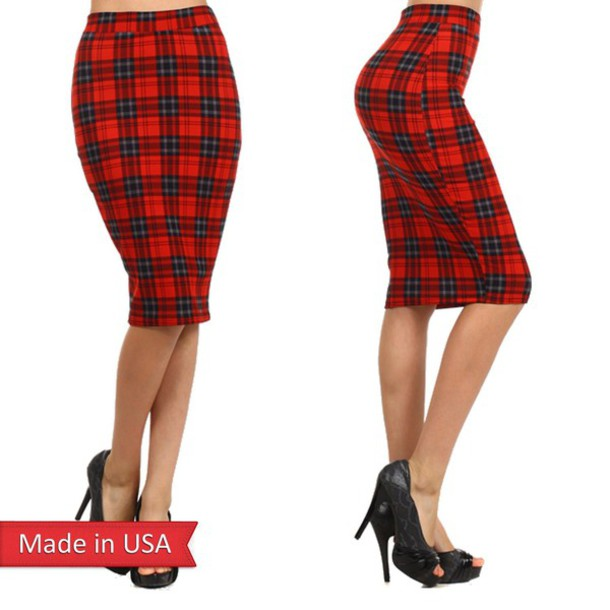 Skirt: pencil skirt, plaid check, red, plaid skirt, tartan, tartan ...