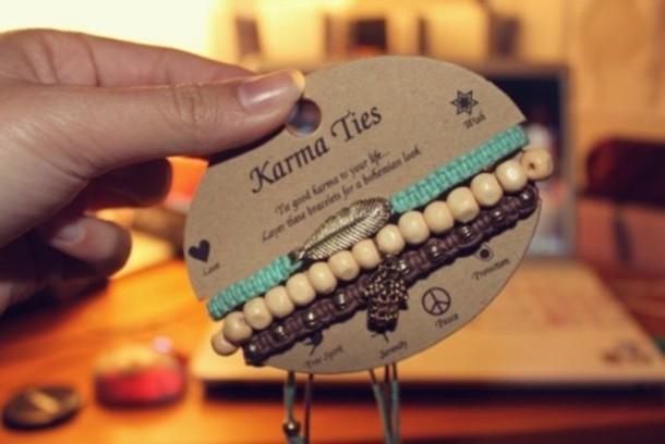 jewels green feathers beads brown karma ties ties karma bracelets