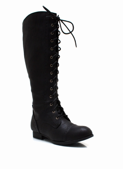 Stand-Tall-Lace-Up-Boots BLACK BROWN COGNAC - GoJane.com