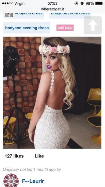 dress crochet backless dress white dress bodycon dress party dress