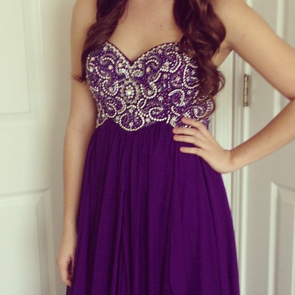 details dress purple love it brown hair purple dress