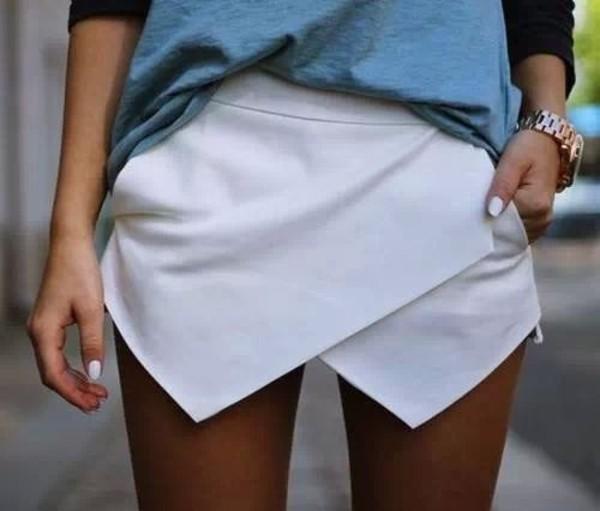 skirt white shorts
