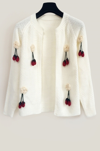 cardigan cherry rose white knitwear fashion fall outfits girly cute
