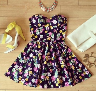 dress colorful bustier dress floral