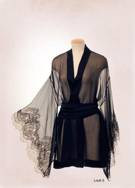 underwear robe lace black sheer