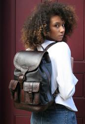 bag,leather backpack,vintage style backpack,big backpack,embellished backpack
