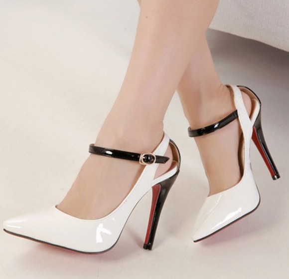 shoes white black red red bottom high heel club wedding