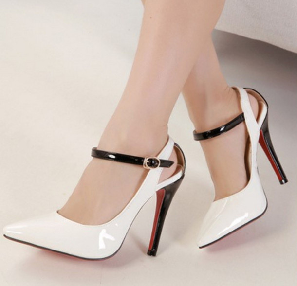 Shoes: red bottom, high heel, white, black, red, clubwear, wedding ...