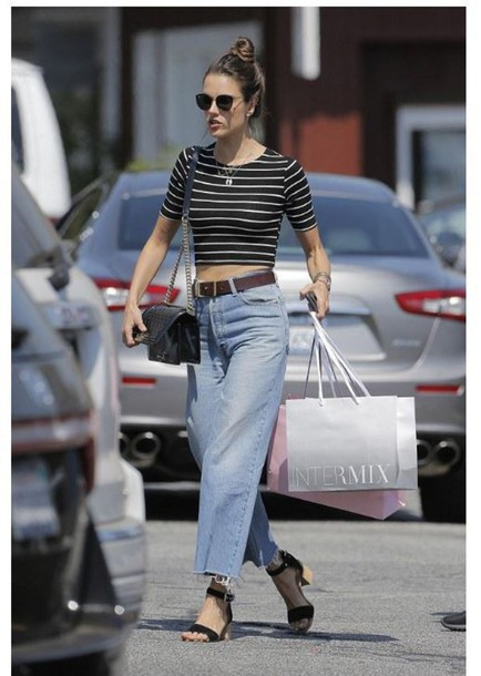 shoes top sandals alessandra ambrosio jeans boyfriend jeans crop tops stripes striped top sunglasses Cropped Flared Jeans