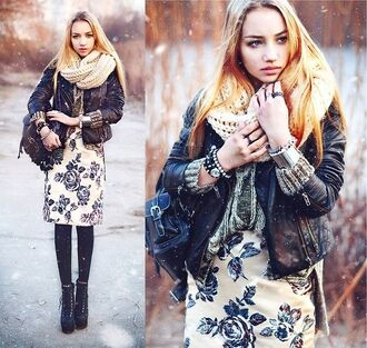 dress floral dress aksinya air backpack scarf bracelets watch tights boots sweater bag jewels jacket leather jacket ukraine shoes