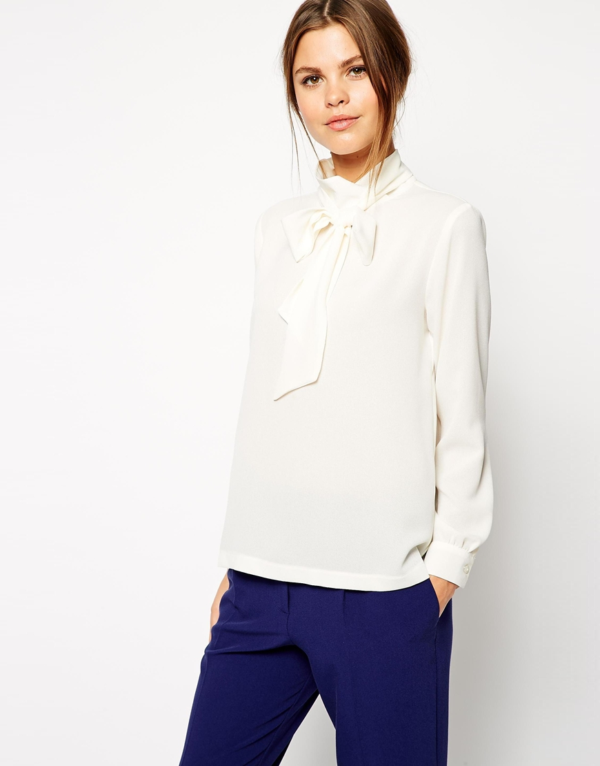 ASOS Long Sleeve Pussy Bow Top at asos.com