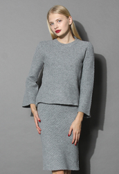 top,sassy grey twill knit top and skirt set,chicwish,knitted top,grey,grey top